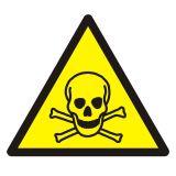 Ostrzeżenie przed materiałami toksycznymi - znak bhp ostrzegający - GDW016 - Zasady stosowania znaków bezpieczeństwa