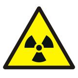Ostrzeżenie przed materiałem radioaktywnym lub promieniowaniem jonizującym - znak bhp ostrzegający - GDW003 - Znaki BHP w miejscu pracy (norma PN-93/N-01256/03)