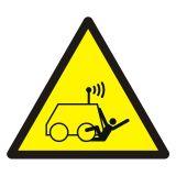 Ostrzeżenie przed możliwością potrącenia przez maszynę zdalnie sterowaną - znak bhp ostrzegający - GDW037 - Ostrzegawcze znaki BHP a zagrożenia w miejscu pracy