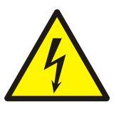Ostrzeżenie przed napięciem elektrycznym - znak bhp ostrzegający - GDW012 - Obsługa maszyn i innych urządzeń technicznych
