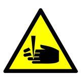 Ostrzeżenie przed niebezpieczeństwem obcięcia palców - znak bhp ostrzegający - GE008 - Znaki bezpieczeństwa w miejscu pracy