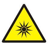 Ostrzeżenie przed promieniowaniem optycznym - znak bhp ostrzegający - GDW027 - Znaki bezpieczeństwa i zdrowia – dyrektywa 92/58/EWG