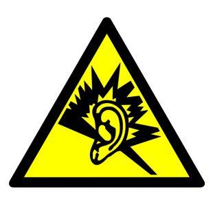 Ostrzeżenie przed silnym hałasem - znak bhp ostrzegający - GE002