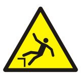 Ostrzeżenie przed spadnięciem (upadkiem) - znak bhp ostrzegający - GDW008 - Ogólne minimalne wymagania dla znaków bezpieczeństwa