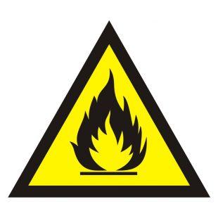 Ostrzeżenie przed substancjami łatwopalnymi - znak bezpieczeństwa, ostrzegający - JA003