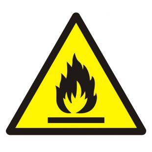 Ostrzeżenie przed substancjami łatwopalnymi - znak bhp ostrzegający - GDW021