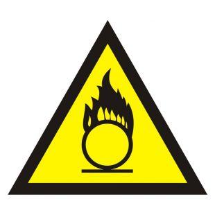 Ostrzeżenie przed substancjami o właściwościach utleniających - znak bezpieczeństwa, ostrzegający - JA017