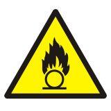 Ostrzeżenie przed substancjami o właściwościach utleniających - znak bhp ostrzegający - GDW028 - Laboratorium – BHP i prawidłowe oznaczenia