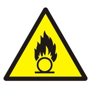 Ostrzeżenie przed substancjami o właściwościach utleniających - znak bhp ostrzegający - GDW028