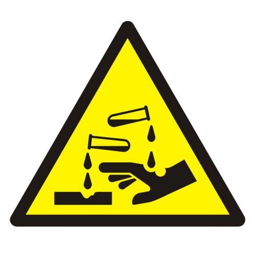 Ostrzeżenie przed substancjami żrącymi - znak bhp ostrzegający - GDW023 - Odzież chroniąca przed czynnikami chemicznymi