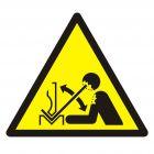 Ostrzeżenie przed szybkim ruchem materiału w giętarce - znak bhp ostrzegający - GDW032