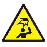 Ostrzeżenie przed uderzeniem w głowę - znak bhp ostrzegający - GDW020 - Zagrożenia mechaniczne w środowisku pracy bez tajemnic