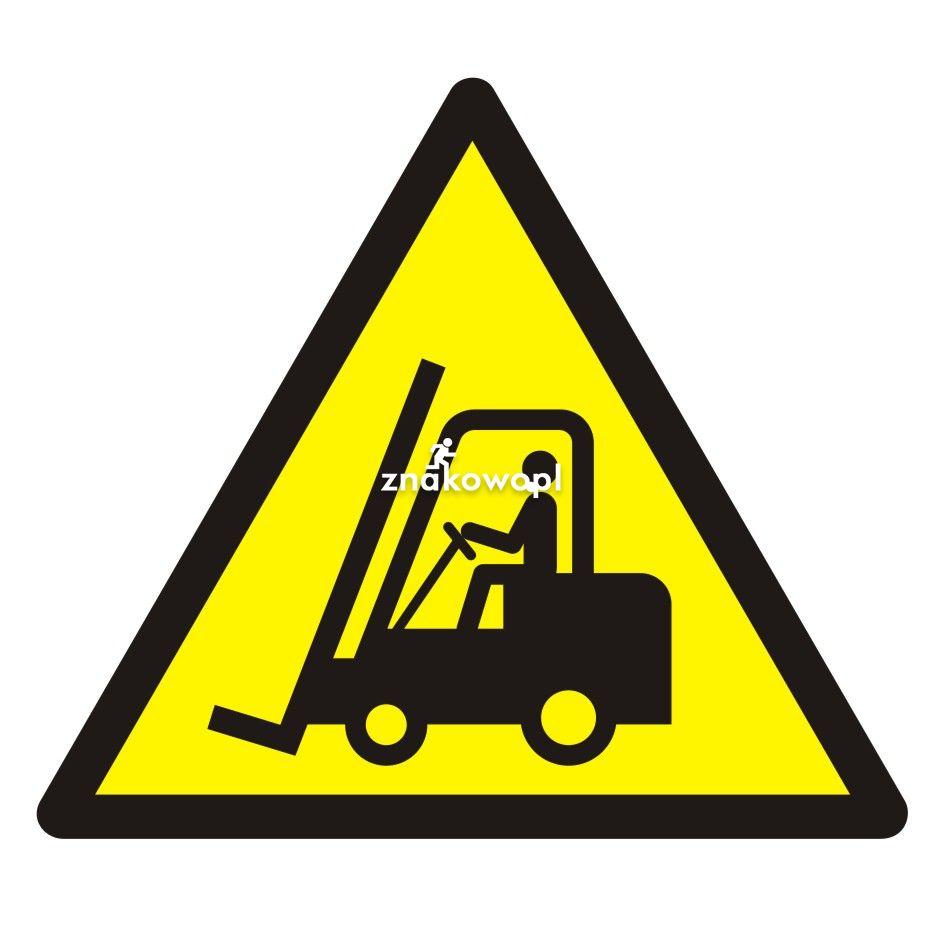 Ostrzeżenie przed urządzeniami do transportu poziomego - Plac budowy – znaki i tablice