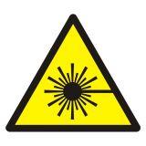 Ostrzeżenie przed wiązką laserową - znak bhp ostrzegający - GDW004 - Znaki BHP w miejscu pracy (norma PN-93/N-01256/03)