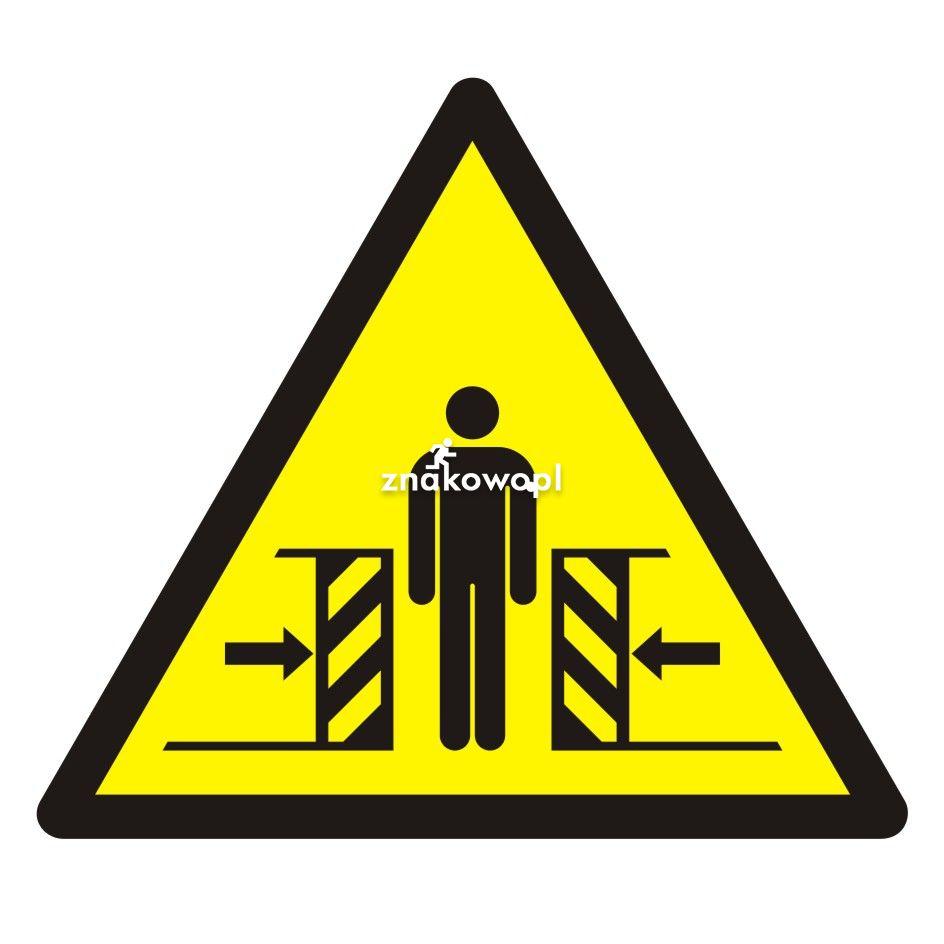 Ostrzeżenie przed zgnieceniem bocznym - Plac budowy – znaki i tablice
