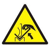 Ostrzeżenie przed zgnieceniem dłoni między prasą i materiałem - znak bhp ostrzegający - GDW031 - Wypadki przy pracy w 2020 r. – najczęstsze przyczyny wypadków w statystykach GUS