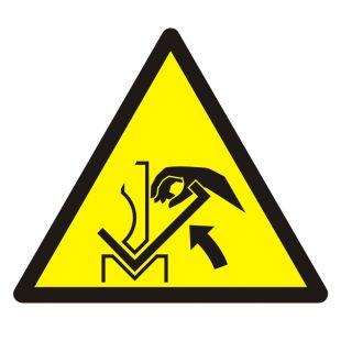Ostrzeżenie przed zgnieceniem dłoni między prasą i materiałem - znak bhp ostrzegający - GDW031