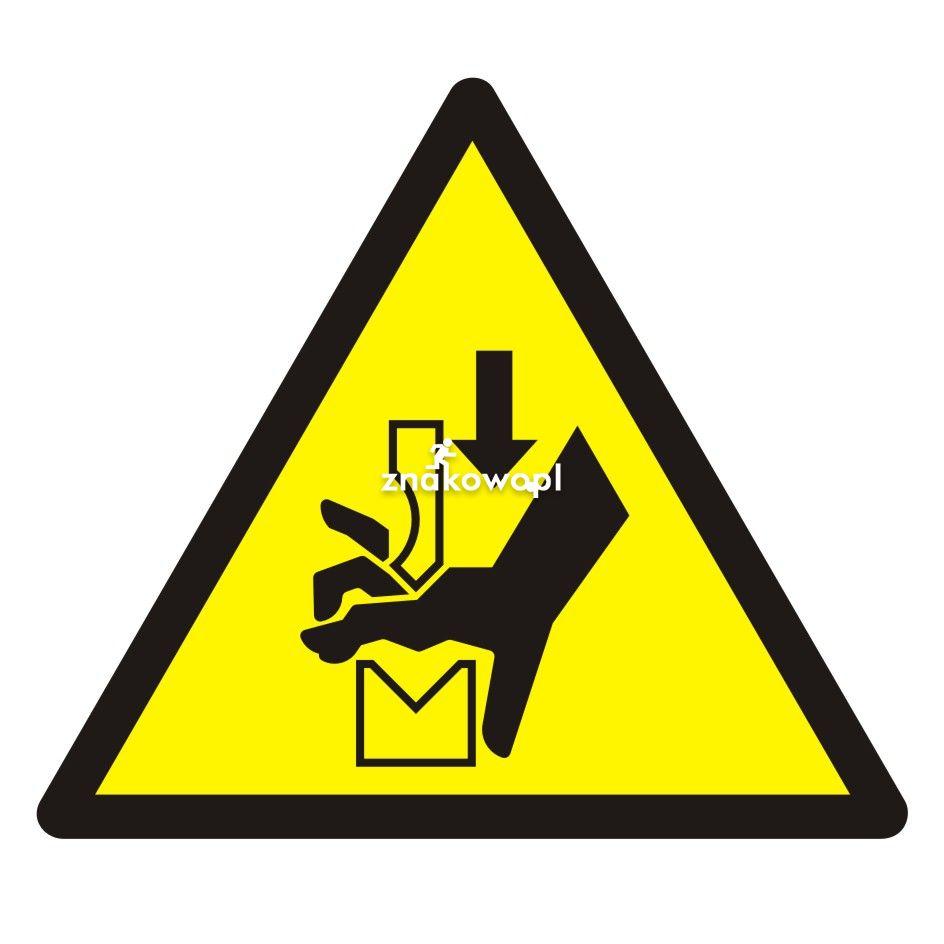 Ostrzeżenie przed zgnieceniem dłoni między prasą i stopą - Plac budowy – znaki i tablice