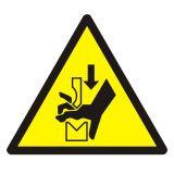 Ostrzeżenie przed zgnieceniem dłoni między prasą i stopą - znak bhp ostrzegający - GDW030 - Plac budowy – znaki i tablice