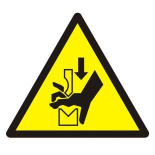 Ostrzeżenie przed zgnieceniem dłoni między prasą i stopą - znak bhp ostrzegający - GDW030
