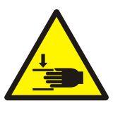 Ostrzeżenie przed zgnieceniem dłoni - znak bhp ostrzegający - GDW024 - BHP na halach produkcyjnych