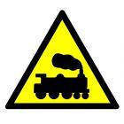 Ostrzeżenie - rampa lub przejazd kolejowy - znak bhp ostrzegający - GE004