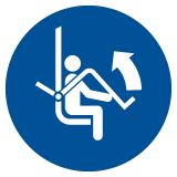 Otwórz zabezpieczenie wyciągu krzesełkowego - znak bhp nakazujący, informujący - GJM034 - Znaki BHP w miejscu pracy (norma PN-93/N-01256/03)