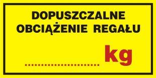 PA018 - Dopuszczalne obciążenie regału ....... kg - znak informacyjny
