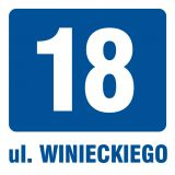 PA030 - Ulica i numer budynku 1 - znak informacyjny - Budynki mieszkalne – oznakowanie