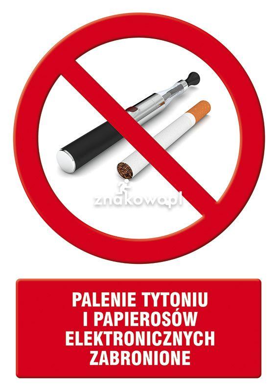 Palenie tytoniu i papierosów elektronicznych zabronione - Placówki służby zdrowia – oznaczenia