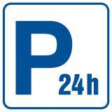 Parking płatny - czynny całą dobę - znak informacyjny - RA075 - Odległość miejsc postojowych od okien budynków