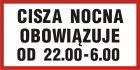 PB108 - Cisza nocna obowiązuje od 22.00 do 6.00 - znak informacyjny