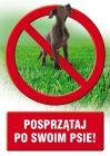 PC400 - Posprzątaj po swoim psie - znak informacyjny