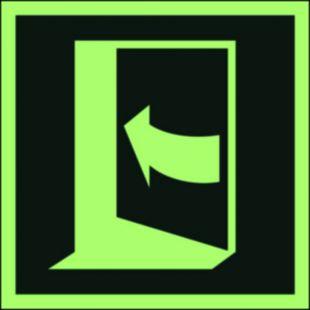 Pchać aby otworzyć drzwi (lewe) - znak ewakuacyjny - AAE022