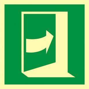 Pchać aby otworzyć drzwi (prawe) - znak ewakuacyjny - AAE023