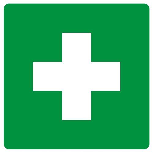 Pierwsza pomoc - znak bhp informujący - GG001 - Organizacja stanowisk pracy a bezpieczeństwo pracowników