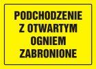 Podchodzenie z otwartym ogniem zabronione - znak, tablica budowlana - OA054