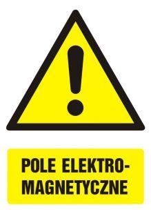 Pole elektromagnetyczne - znak bhp ostrzegający, informujący - GF002