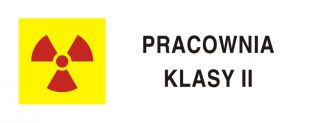 Pracownia izotopowa z otwartymi źródłami promieniowania klasa II - znak bezpieczeństwa, ostrzegający, promieniowanie - KA020