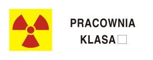Pracownia z otwartymi źródłami promieniotwórczymi - znak bezpieczeństwa, ostrzegający, promieniowanie - KA011