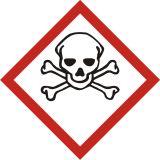 Produkt bardzo toksyczny - znak piktogram GHS 06 CLP - LF006 - Minimalne wymiary piktogramów CLP i etykiet