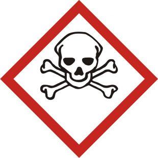 Produkt bardzo toksyczny - znak piktogram GHS 06 CLP