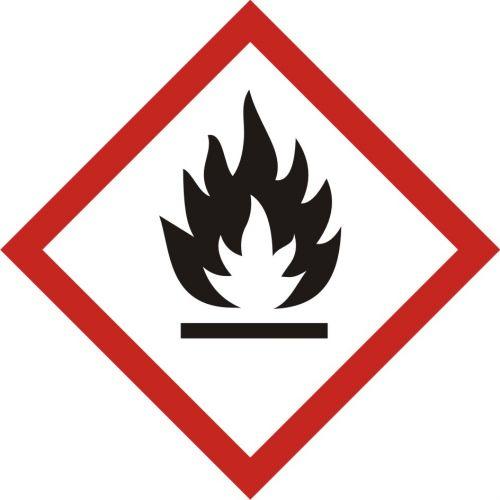 Produkt łatwopalny - znak piktogram GHS 02 CLP - LF002 - Substancje chemiczne – oznakowanie