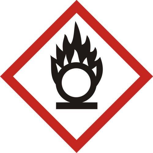 Produkt utleniający - znak piktogram GHS 03 CLP - LF003 - Substancje chemiczne – oznakowanie