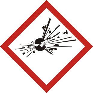 Produkt wybuchowy - znak piktogram GHS 01 CLP