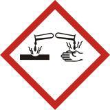 Produkt żrący - znak piktogram GHS 05 CLP - LF005 - Minimalne wymiary piktogramów CLP i etykiet