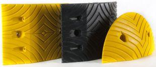 Próg zwalniający drogowy podrzutowy, gumowy - element środkowy 34x25x5 cm, czarny