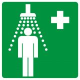 Prysznic bezpieczeństwa - znak bhp informujący - GG002 - Znaki BHP w miejscu pracy (norma PN-93/N-01256/03)