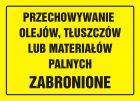 Przechowywanie olejów, tłuszczów lub materiałów palnych zabronione - znak, tablica budowlana - OA053