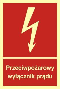 Przeciwpożarowy wyłącznik prądu - znak przeciwpożarowy ppoż - BB012